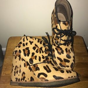 Leopard Lace Up Wedge Bootie